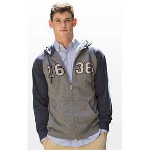 Full-Zip Two-Tone Jersey Knit Hoodie